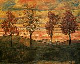 Famous Trees Paintings - Four Trees