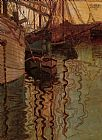 Egon Schiele Harbor of Trieste painting