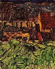 Egon Schiele Meadow Church and Houses painting