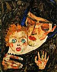 Egon Schiele Mother and son painting