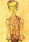 Egon Schiele Portrait with an open mouth painting