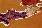 Nude Canvas Paintings - Reclining Semi Nude with Red Hat Gertrude Schiele