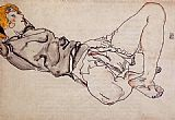 Egon Schiele Reclining Woman with Blond Hair painting