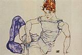 Egon Schiele Seated Woman in Violet Stockings painting