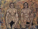 Women Wall Art - Squatting women's pair