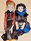 Egon Schiele Two Little Girls painting