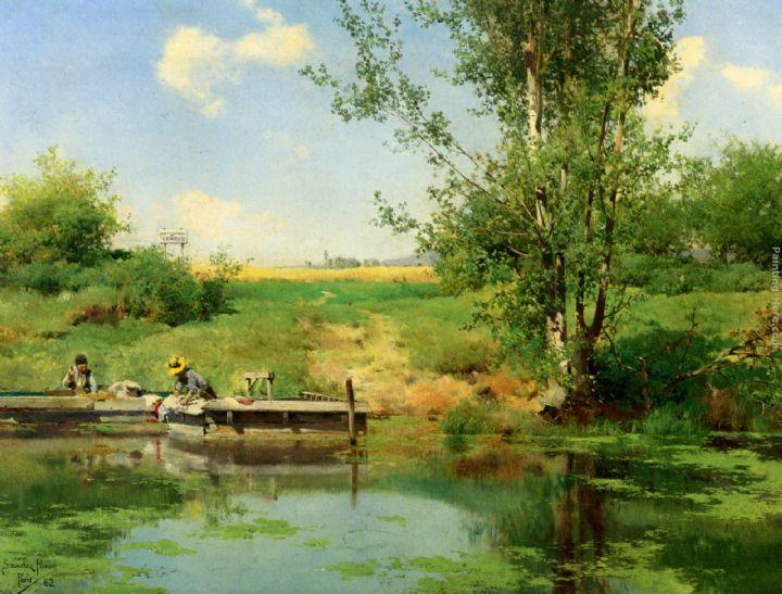 Emilio Sanchez-Perrier Laundry at the Edge of the River