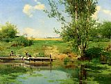 Famous River Paintings - Laundry at the Edge of the River