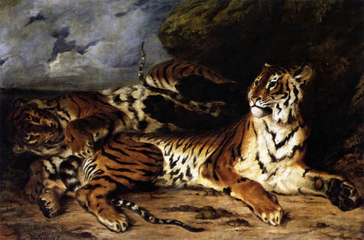 Eugene Delacroix A Young Tiger Playing with its Mother