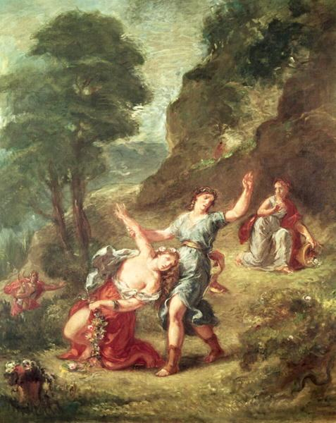 Eugene Delacroix Orpheus and Eurydice Spring from a series of the Four Seasons 1862
