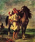 Famous Horse Paintings - A Moroccan Saddling A Horse