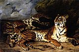 Famous Playing Paintings - A Young Tiger Playing with its Mother