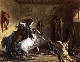 Eugene Delacroix - Arab Horses Fighting in a Stable