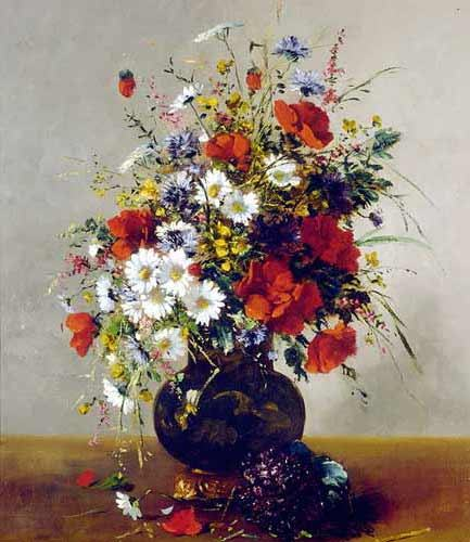Eugene Henri Cauchois Daisies, Poppies and Cornflowers