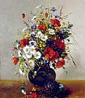 Eugene Henri Cauchois - Daisies, Poppies and Cornflowers