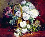 Eugene Henri Cauchois Still Life of Flowers in a Basket painting