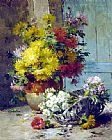 Eugene Henri Cauchois - Still Life of Summer Flowers