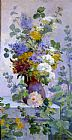 Eugene Henri Cauchois Summer Flowers with Hollyhocks painting