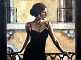 Fabian Perez BRUNETTE AT THE BALCONY painting