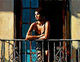 Fabian Perez Wall Art - Saba at the Balcony VI Light Walls
