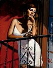 Fabian Perez Wall Art - Saba at the Balcony XIV at Red Wall