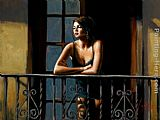 Fabian Perez Saba on the Balcony painting