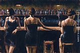 Study Canvas Paintings - Study For 3 Girls in Bar