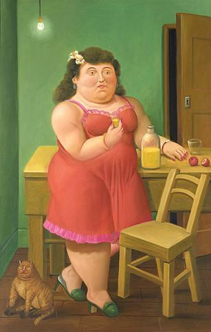 Fernando Botero Woman Drinking With Cat
