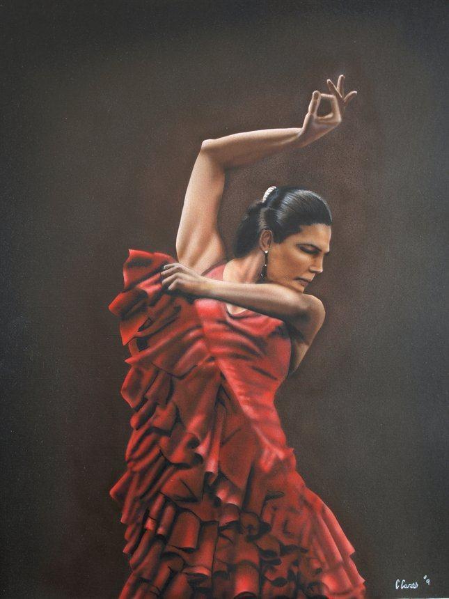Flamenco Dancer Flamenco Dancer 3 Painting Framed