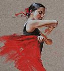 Flamenco Dancer Canvas Paintings - Flamenco in Red