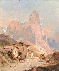 Franz Richard Unterberger - Figures in a Village in the Dolomites