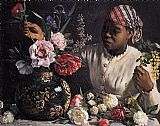 Frederic Bazille African woman with Peonies painting