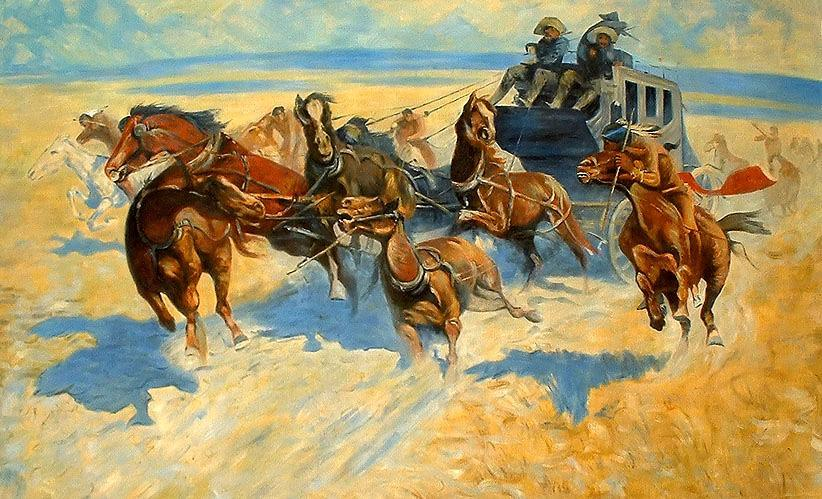 Frederic Remington Downing the Night Leader