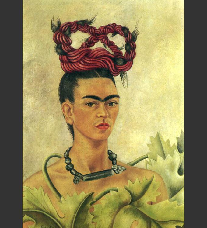 self portrait with monkey by frida kahlo Surrealist painter frida kahlo has been called one of mexico's greatest artists because of her brutal and revealing self-portraits self-portrait with thorn necklace and hummingbird is her most.