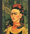 Frida Kahlo Self Portrait with Monkey painting