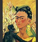 Frida Kahlo Self Portrait with Parrot painting