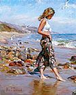 Garmash Canvas Paintings - Toes in the Sand