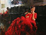 Garmash WOMAN IN RED painting