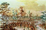 Famous Peace Paintings - De Tonty Suing for Peace in the Iroquois Village in January 1680