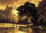 Famous Stream Paintings - Fisherman in a Stream
