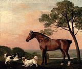 Famous Bay Paintings - A Bay Hunter With Two Spaniels