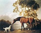 Famous Bay Paintings - Bay Horse and White Dog