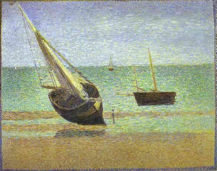 Georges Seurat Boats Bateux maree basse Grandcamp