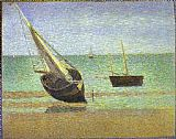Famous Boats Paintings - Boats Bateux maree basse Grandcamp