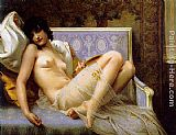 Guillaume Seignac Young woman naked on a settee painting