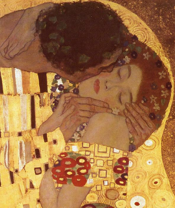 Gustav Klimt The Kiss (detail)