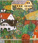 Gustav Klimt Houses at Unterach painting