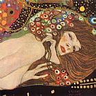Gustav Klimt Water Serpents II painting