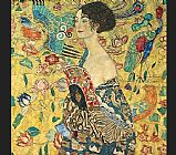 Gustav Klimt lady with fan I painting
