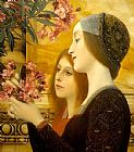 two girls with an oleander detail